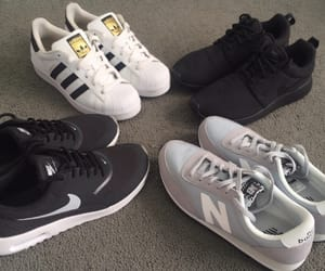 adidas, black and wite, and new balance image