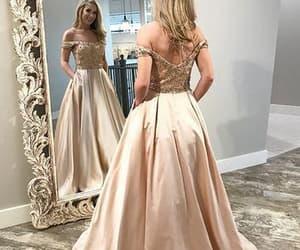 evening dress, prom dress, and off shoulder prom dress image