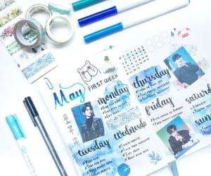 art supplies, blue, and college image