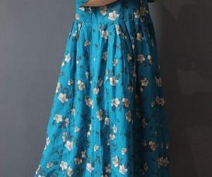 floral dress, long dress, and boho dress image