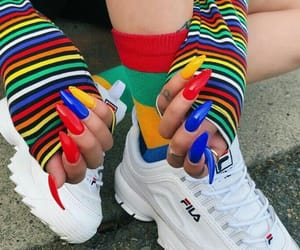 Fila, rainbow, and blue image