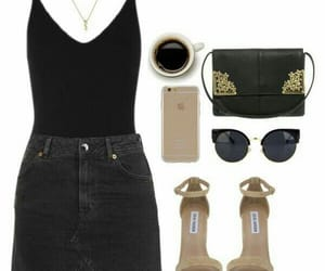 black, coffee, and outfit image