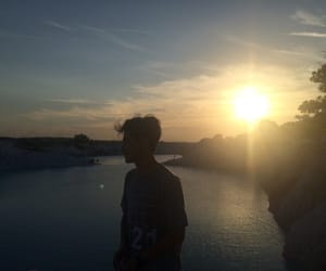 boy, sunset, and view image