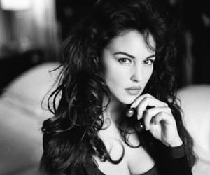 beauty, black and white, and brunette image