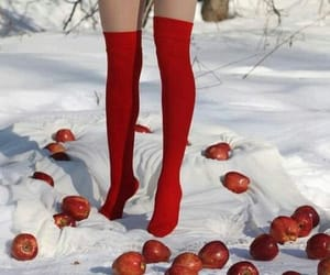 red, apple, and girl image