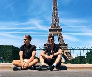 eiffel tower, paris, and sun image