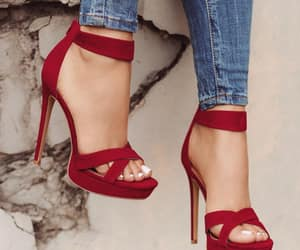 red, heels, and fashion image