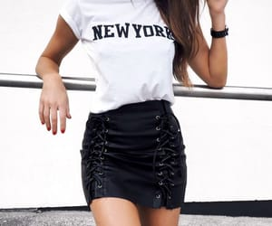 outfit, new york, and skirt image