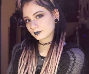 dreads, goth, and pink dreads image