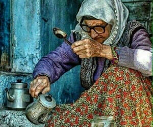 old lady, poverty, and tea image