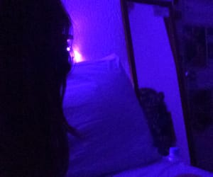 bed, lights, and mirror image