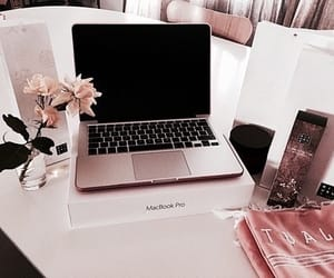 rose gold, pink, and macbook image