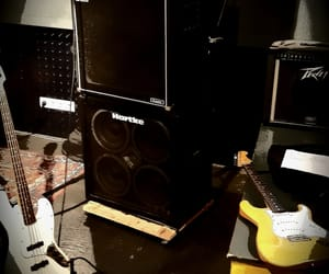 amplifier, bass, and guitar image