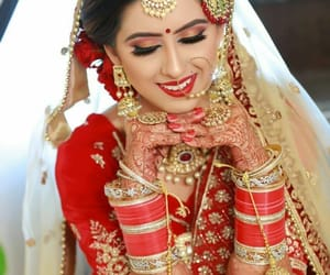 bangles, bridal makeup, and hindi image