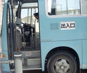 blue, aesthetic, and bus image