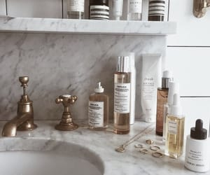 beauty, bathroom, and gold image