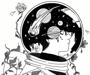 art, black & white, and space image