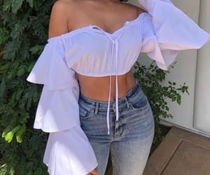 jeans, white, and crop top image