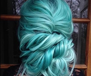 colored hair, hair, and teal image