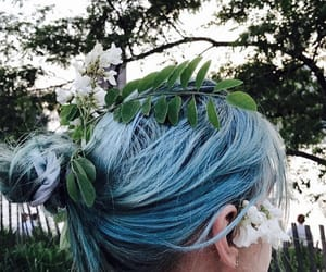 blue hair, fashion, and flower image