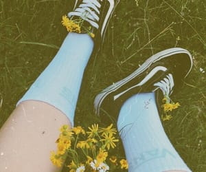 countryside, flowers, and high socks image