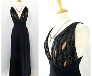 Elizabeth Taylor, evening gown, and black maxi dress image