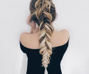blonde, brown hair, and braids image