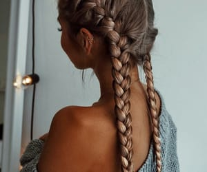 braids, hair, and brown hair image
