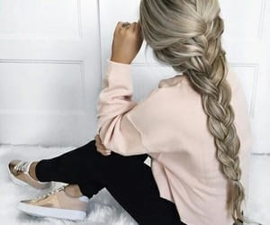 blonde, braid, and long hair image