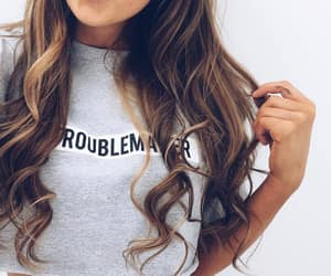 brown hair, curled, and girl image