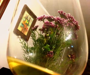 flowers, white wine, and glass image