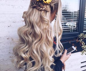 blonde, styled, and curled image