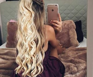 blonde, curled, and long hair image