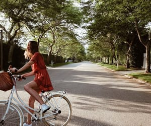 girl, nature, and bike image