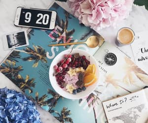 flatlay, breakfast, and flowers image