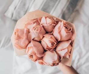 bed, floral, and roses image