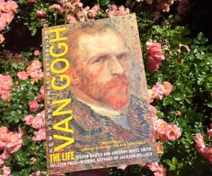 books, flowers, and van gogh image