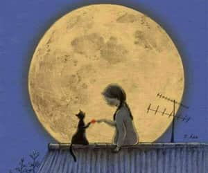 cat, moon, and girl image