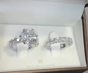 bride, diamonds, and wedding rings image