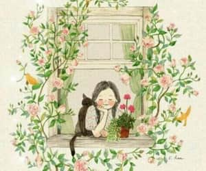 flowers, cat, and girl image