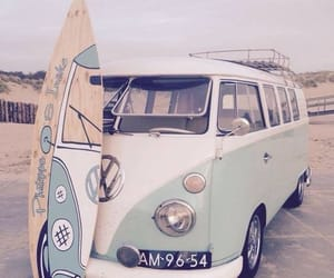 beach, surfboard, and volkswagen image