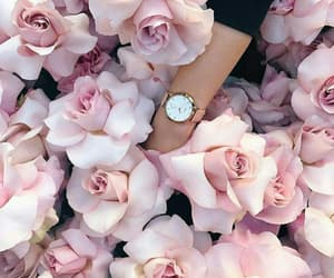 flowers, pink, and reloj image