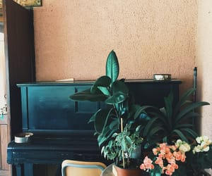 flowers, piano, and wall image