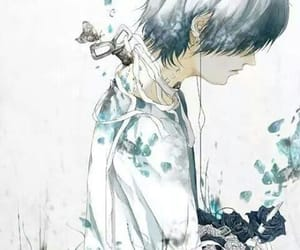 blue, boy, and white image