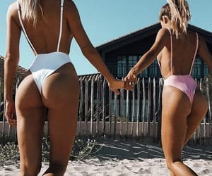 beach, best friends, and sand image