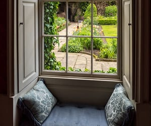 bench, window, and garden image