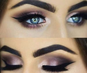 blue eyes, make up, and black liner image