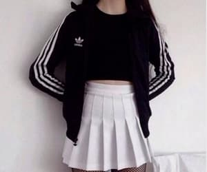 adidas, black, and girly image
