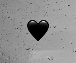 black, heart, and rain image