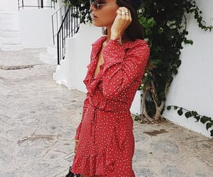 dress, hat, and red image